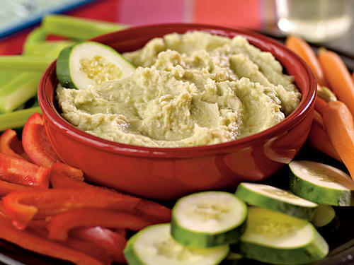 Fava beans are traditionally used as the base in this hummuslike dip. Use them, if you can find them, in place of the lima beans. Serve with raw vegetables for dipping.