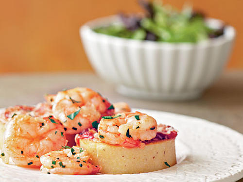 Smoky Shrimp and Parmesan-Polenta Cakes