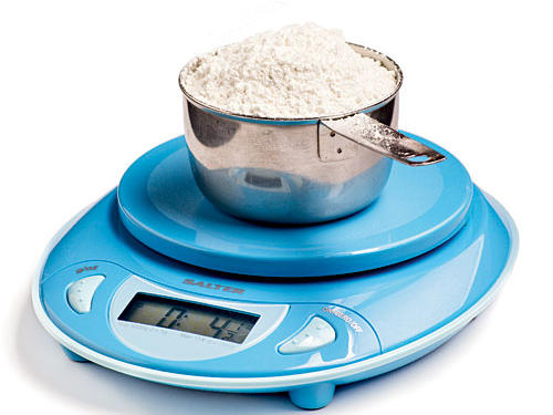 If you don't have a kitchen scale, it's time to buy one. Weight is the only accurate way to measure flour. Depending on how tightly flour is packed into a measuring cup, you can end up with double the amount intended. That's why we give flour measurements in ounces first.
