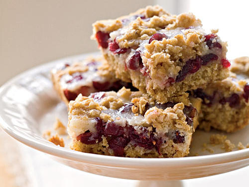 These cranberry-oatmeal bar cookies strike a nice flavor balance: not too sweet and not too tart. Be sure to zest the orange before you squeeze the juice.