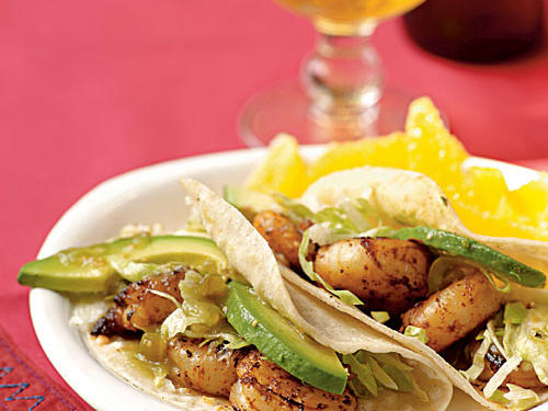 Shrimp are a favorite weeknight staple because they cook quickly, taste great, and are an excellent protein source. The spice mixture in this dish includes sugar to get a nice browned color and charred flavor in just three minutes of cooking, while cumin and chipotle add big flavor. Sliced avocado in the finished tacos gives them a lovely creamy texture that takes the place of less-healthful sour cream or cheese.
