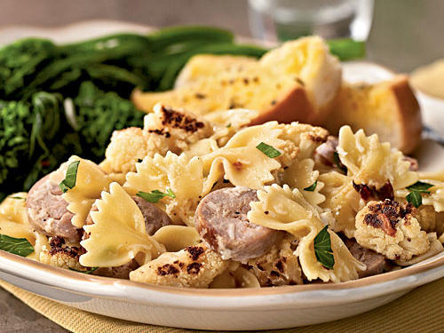 1302 Farfalle with Cauliflower and Turkey Sausage