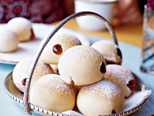 Not quite a cookie, but an Israeli jelly-filled donut makes a delicious hand-held sweet all the same. Called soufganiyot (soof-GHAHN-ee-yote) these Hanukkah treats are traditionally fried, but we bake them to trim calories.View Recipe: Baked Soufganiyot