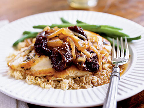 Pounding the chicken breasts flat ensures juiciness and quick cooking so you can focus on the sweet-sour sauce. The plums and onions are sweet, but sage, the familiar herb that flavors Thanksgiving stuffing, gives the sauce a warm and hearty feel. Add brown rice, bulgur, or whole-grain couscous for a healthy fiber-rich meal.