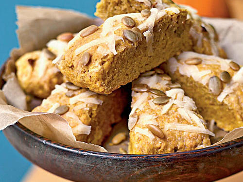 Canned pumpkin puree makes these scones moist and tender, and it imbues them with the antioxidant beta-carotene. Pumpkinseed kernels add nutty crunch. Serve with a hearty vegetable soup or a meaty stew.