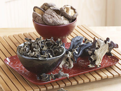 We used readily available shiitake mushrooms (also called Chinese black mushrooms) for recipe testing. But try any variety or combination of Asian dried mushrooms, such as wood ear, cloud ear, and Chinese black. (Left to right: cloud ear, shiitake, wood ear)