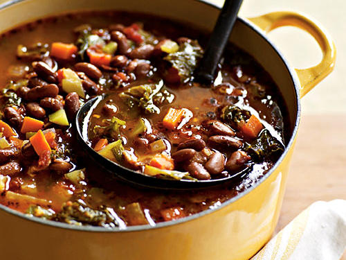 Brimming with fresh vegetables, this hearty minestrone also features creamy, heirloom borlotti beans—the Italian variety of cranberry beans.