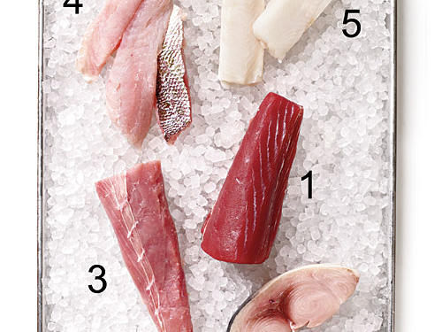 1. Bluefin tuna 2. Swordfish 3. Amberjack 4. Red snapper 5. Chilean sea bass