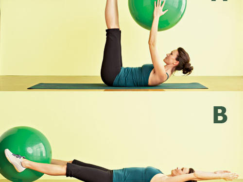 Target: Upper and lower abs and backStart: Hold a stability ball in both hands, and lie back on a mat with arms extended overhead, legs straight.Move: (A) Slowly crunch upper and lower abs together by raising arms and legs to meet above stomach. (B) Place ball between feet, then lower arms and legs back toward floor. Keep muscles contracted, allowing arms and legs to slightly touch the floor―if at all. Reverse the move by lifting legs and arms back to center, moving the ball to hands, then extending arms overhead and legs back to floor for one rep.Repeat: Perform two sets of 10 to 12 reps with one minute of rest between sets.