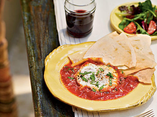 Tomato-Poached Eggs with Sardian Music Bread