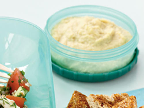 Lemony Hummus with Spicy Whole-Wheat Pita Chips