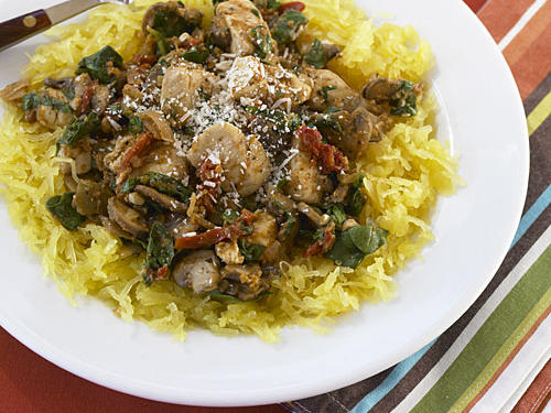 Spaghetti Squash with Chicken, Mushrooms, and Spinach
