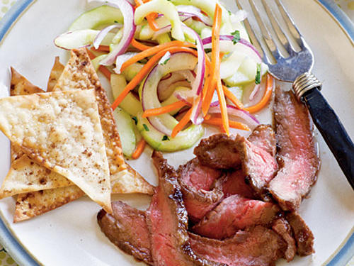 Choose flank steak for a lean yet flavorful beef option. Besides its high protein content, red meat is one of the most highly-absorbable sources of iron – also important for healthy muscles. Not a fan of beef? Make this recipe with chicken breast instead (a 3-ounce portion will pack in 24 grams of protein).Recipe: Hoisin Flank Steak with Asian Cucumber Salad