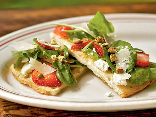 This dish is a refreshing departure from traditional pizza. Substitute your favorite soft cheese or greens.