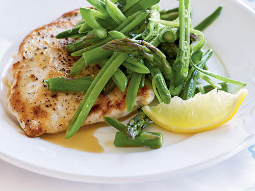Chicken Scaloppine with Sugar Snap Pea, Asparagus, and Lemon Salad recipe