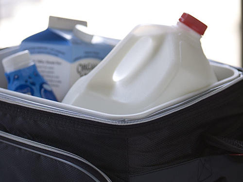 For each 18-degree increase in temperature, the spoilage rate of milk doubles. If it takes 45 minutes to get milk from the dairy case to your home, milk may already have reached 60 degrees on a warm spring or summer day, so buy an inexpensive (and eco-friendly) reusable insulated bag or use a small cooler and ice pack for your milk's trip home. If stored properly, milk will keep up to five days beyond the sell-by date.