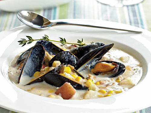 Healthy Corn, Clam, and Mussel Chowder Recipes