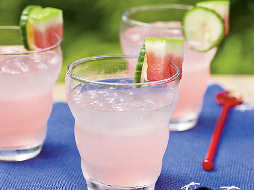 A reinterpretation of the familiar gin and tonic, this cocktail includes fresh watermelon and cucumber juices for a refreshing taste.