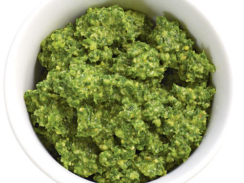 Health benefit: Even though it's made with high-calorie ingredients like nuts, olive oil, and cheese, pesto is a healthful spread. One tablespoon supplies a reasonable 58 calories and five grams of good-for-you unsaturated fat.