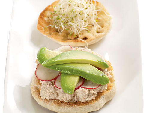Try it: For a California-inspired suggestion, Creel recommends spooning tuna salad on an English muffin, then topping with sliced radishes, alfalfa sprouts, and thin slivers of avocado (shown here). Mild, buttery avocados are also a good complement to sharp cheeses.