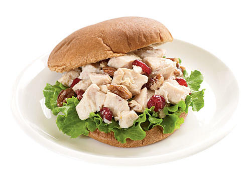 "Try it: Since dried fruit is more concentrated than fresh, it's sweeter. Use it to satisfy a sweet craving healthfully by pairing dried cranberries with a savory chicken salad (shown here). ""Stir in pecans for a little texture and crunch, and serve on a whole-grain hamburger bun with fresh lettuce,"" Creel says."
