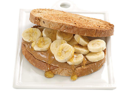 "Try it: Spread 1 1/2 tablespoons almond butter, topped with half a sliced banana and 1 tablespoon honey, between slices of toasted bread (below), Creel says. Newgent favors a savory option: ""Spread almond butter on sourdough bread; layer with turkey bacon and thin apple slices."""