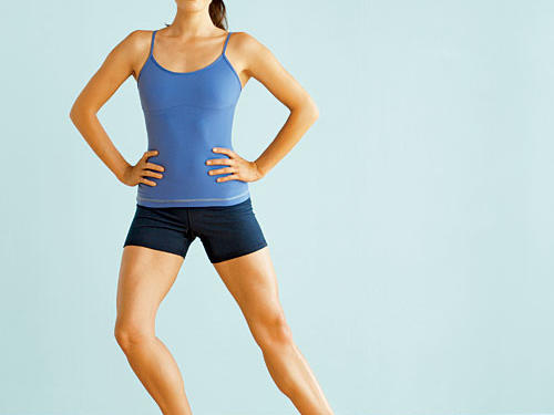 Target: Quadriceps, hips, and inner thighsStart: Stand with feet wider than hip-distance apart, toes pointing out to sides, as shown. (If you were standing in the center of a clock, your left foot would point to 10, right foot to 2.)Move: Squat until thighs are almost parallel to floor, then shift body weight onto right leg. Rise back to standing position while simultaneously dragging left foot toward right foot until heels almost touch. (Toes should remain pointed out.) Return to start position. Repeat exercise, this time shifting weight onto left leg and dragging right foot toward left foot as you rise.Repeat: 8 to 10 repetitions per leg