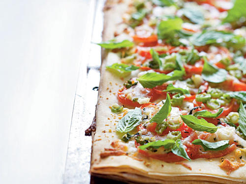 Phyllo Pizza with Feta, Basil, and Tomatoes