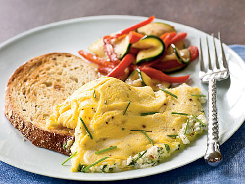 A tender omelet gains a salty boost from goat cheese without adding too much sodium. Serve with seedy whole-grain toast and fresh fruit for a hearty breakfast.