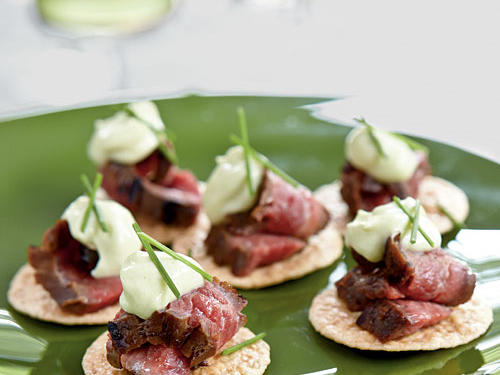 Under 100 Calorie Appetizer: Beef Teriyaki Crisps with Wasabi Mayonnaise