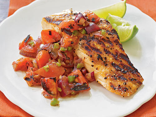 Grilled Salmon with Smoky Tomato Salsa