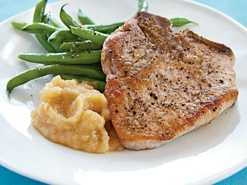 Pan-Fried Pork Chops and Homemade Applesauce Recipe