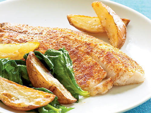 Tilapia fillets are a reliable, speedy weeknight dinner option. After rubbing the fish with cumin, salt, garlic powder, and peppers, broil to make the process even quicker.
