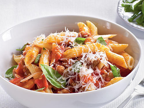 100 Pasta Recipes: Fresh Tomato, Sausage, and Pecorino Pasta Recipe
