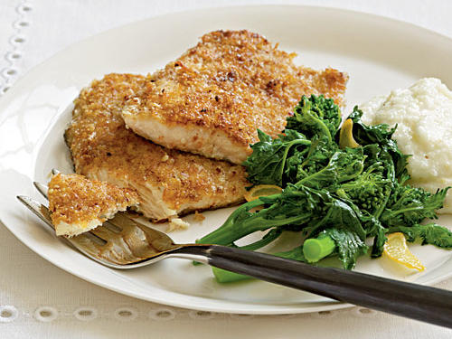 A pan-fried coating of ground nuts and panko yields crunchy texture. Although we loved the taste of pecans with trout, the breading would also be delicious with cod, halibut, or catfish.