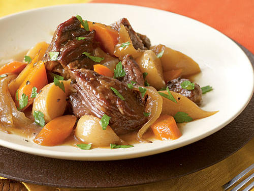 Beer-Braised Beef with Onion, Carrot, and Turnips Comfort Food Recipe