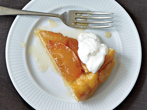 Caramel-bathed apples nestle in a tender crust, while crème fraîche lends a little French tang to this sweet classic.