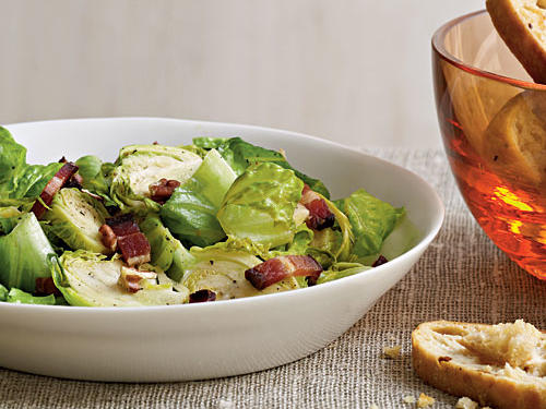 If you are having trouble enjoying Brussels sprouts, here is your answer: put bacon on them! The maple syrup, applewood-smoked bacon, and pecans make this salad wholesome, sweet, and smoky. Look for in-season brussels sprouts between September and February.