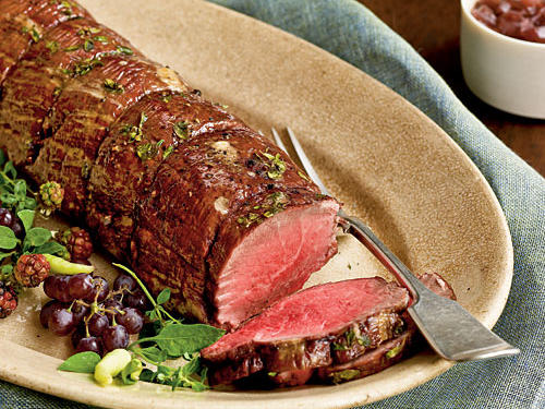 Herbed Beef Tenderloin with Two-Onion Jus Recipes