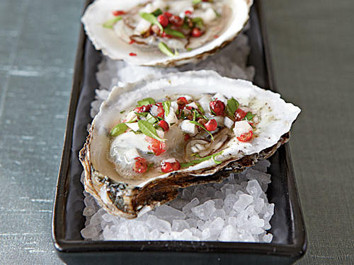 Superfast Holiday Dishes Oysters with Pink Peppercorn Mignonette
