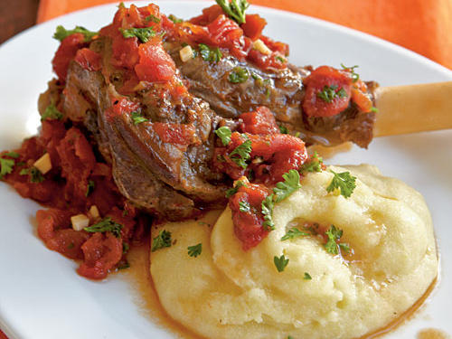 "With meltingly tender shanks and a rich tomato-based sauce, this dish is so fabulous that you'd never guess it contains just five ingredients. After tasting it, our editor-in-chief quipped, ""I'd serve this to my Italian grandmother, if I had one."""