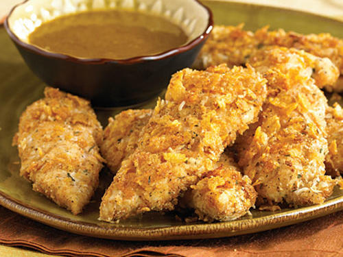 "Oven ""Fried"" Chicken Fingers with Honey-Mustard Dipping Sauce Recipes"