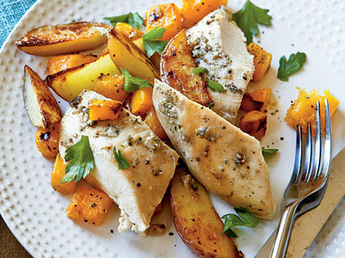 Check the weekly specials at your local grocery store and choose one of the items on special-they often reflect the abundance of certain seasonal produce. Find budget recipes to put seasonal produce to good use in our Feed 4 for $10 recipe collection.View Recipe: Roast Chicken with Potatoes and Butternut Squash