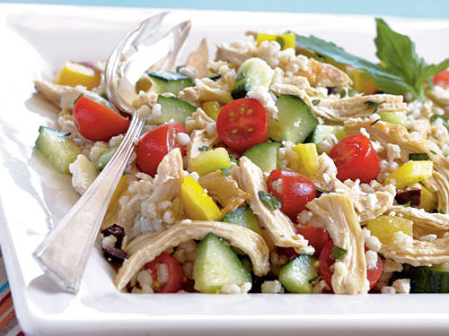 Dress up a Greek salad by adding barley to the cucumber, tomato, feta and kalamata olives. The addition of chicken makes this a one-dish meal that's high in fiber and also a source of vitamins A and C.