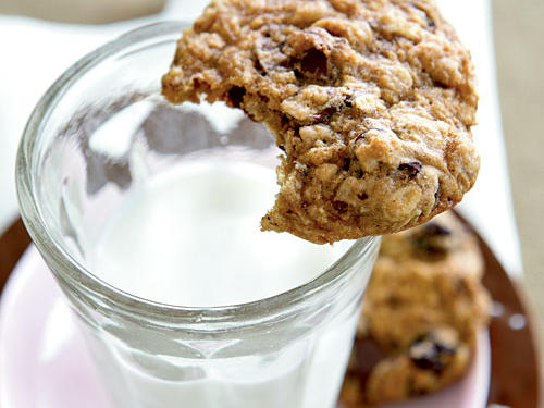 Bittersweet chocolate and dried cherries lend the perfect amount of sweetness to hearty oatmeal cookies. Double the recipe and store extras in the freezer for whenever you need a healthy treat.