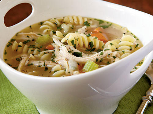 The fun shape of the fusilli pasta in this chicken noodle soup rendition adds a little something special to this dish.  To ensure the soup is ready in just 20 minutes, heat the broth mixture in the microwave to jump-start the cooking. Meanwhile, sauté the aromatic ingredients in your soup pot to get this dish under way.