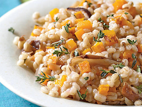 A dry or sweet white wine can be used here to flavor the pearl barley and pair with sweet butternut squash.