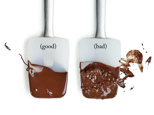"Result: Instead of having a smooth, creamy, luxurious consistency, your chocolate is grainy, separated, or scorched.The best way to melt chocolate is to go slowly, heat gently, remove from the heat before it's fully melted, and stir until smooth. If using the microwave, proceed cautiously, stopping every 20 to 30 seconds to stir. If using a double boiler, make sure the water is simmering, not boiling. It's very easy to ruin chocolate, and there is no road back.Associate Food Editor Julianna Grimes recently made a cake but didn't pay close enough attention while microwaving the chocolate. It curdled. ""It was all the chocolate I had on hand, so I had to dump it and change my plans.""See our 20 favorite lightened chocolate desserts"