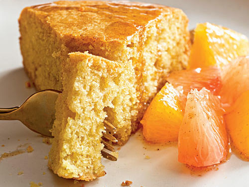 Plain low-fat yogurt is added into the batter to keep the cake moist. Serve the citrus compote over the cake and enjoy.