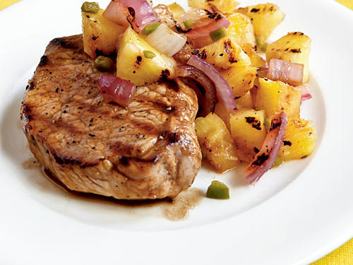 Pan-Grilled Pork Chops with Grilled Pineapple Salsa Recipe
